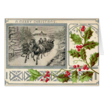 A Merry Christmas, Horse Drawn Sleigh, 1907 Vintag Card