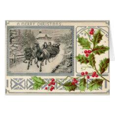A Merry Christmas, Horse Drawn Sleigh, 1907 Vintag Card at Zazzle