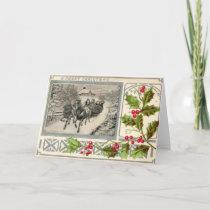 A Merry Christmas, Horse Drawn Sleigh, 1907 Vintag Holiday Card