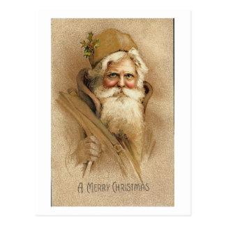 A Merry Christmas Old Santa Card Post Card