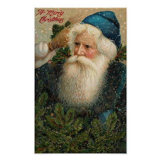 A Merry Christmas Old St. Nick Card Poster