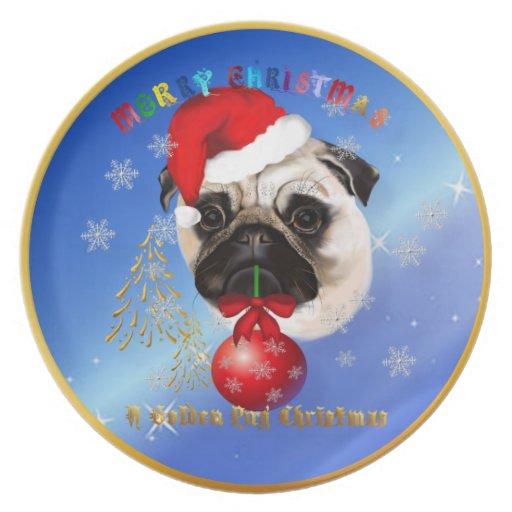 A Merry Christmas Pug Plate
