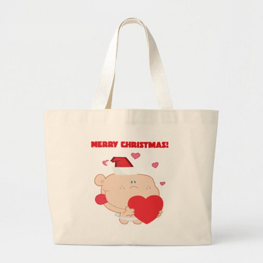A Merry Christmas Romantic Cupid with Heart Canvas Bag