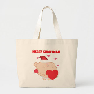 A Merry Christmas Romantic Cupid with Heart Large Tote Bag