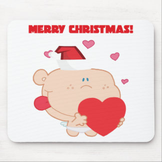 A Merry Christmas Romantic Cupid with Heart Mouse Pad