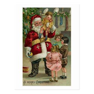 A Merry Christmas Santa and Children Postcard