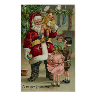 A Merry Christmas Santa and Children Print
