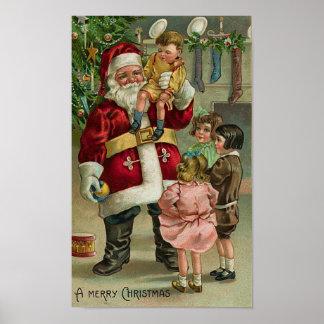 A Merry Christmas Santa and Children Print