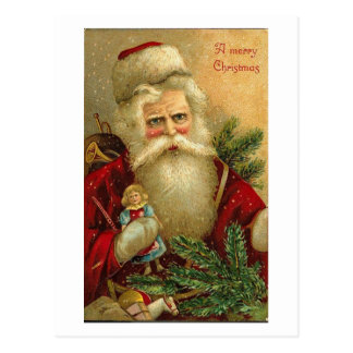 A Merry Christmas Santa and Doll Card Post Cards