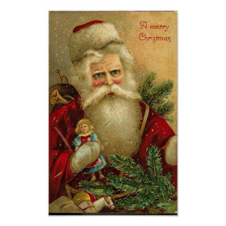 A Merry Christmas Santa and Doll Card Poster
