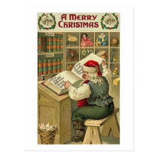 A Merry Christmas Santa in Workshop Card Postcard