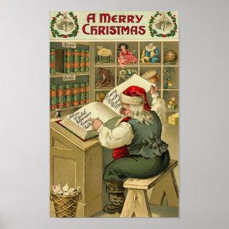 A Merry Christmas Santa in Workshop Card Print