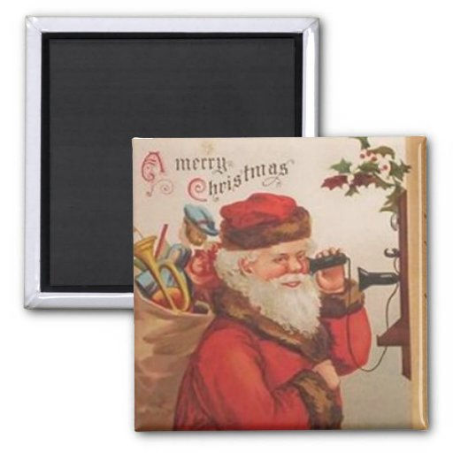 A Merry Christmas Santa Telephone call 2 Inch Square Magnet