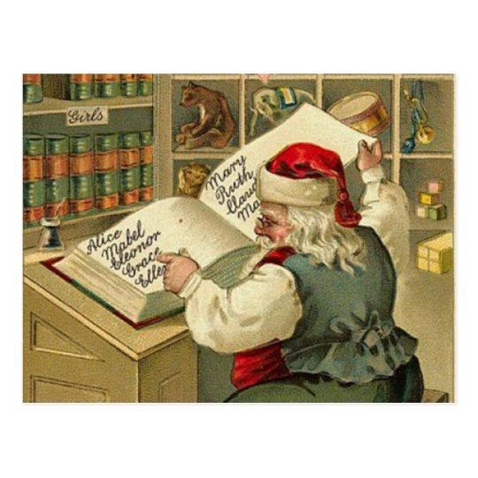 A Merry Christmas Santa's workshop Postcard