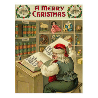 A Merry Christmas Santa's workshop Postcard