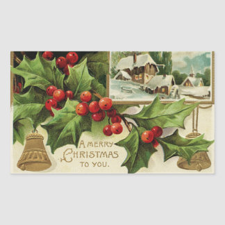 A Merry Christmas to You Vintage Rectangular Sticker