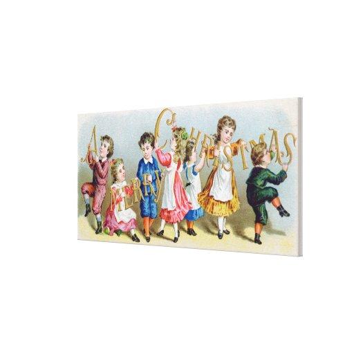 A Merry Christmas', Victorian postcard Canvas Prints
