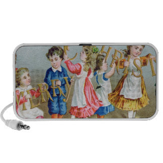 A Merry Christmas', Victorian postcard iPhone Speaker