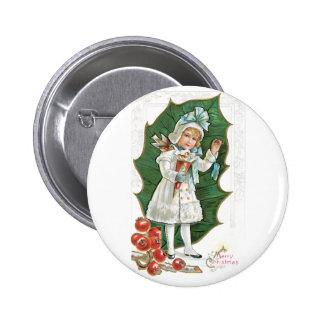 A Merry Christmas - Vintage Christmas Card Design Button