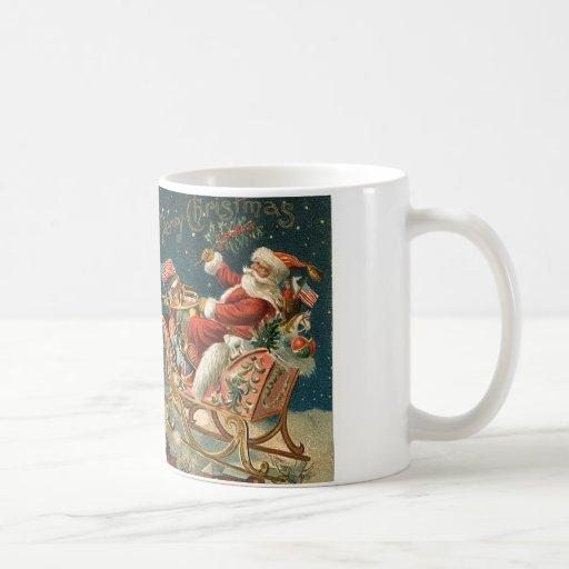 A Merry Christmas Vintage Santa Basic White Mug