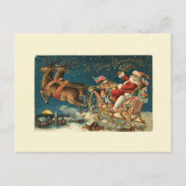 A Merry Christmas Vintage Santa Holiday Postcard