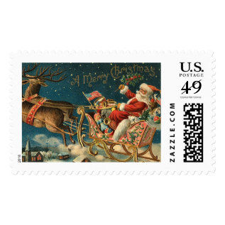 A Merry Christmas Vintage Santa Postage at Zazzle