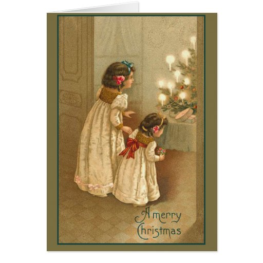 A Merry Christmas With Two Victorian Girls Greeting Card