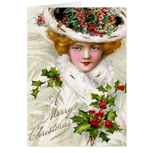 A Merry Christmas Woman with Hat Card