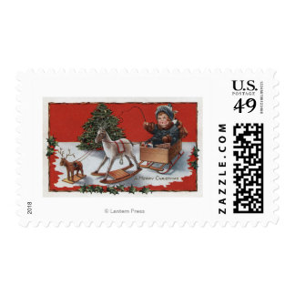 A Merry ChristmasKid in a Soap-Box Sled Postage