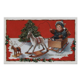 A Merry ChristmasKid in a Soap-Box Sled Poster