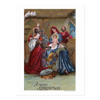 A Merry ChristmasNativity Scene Postcard