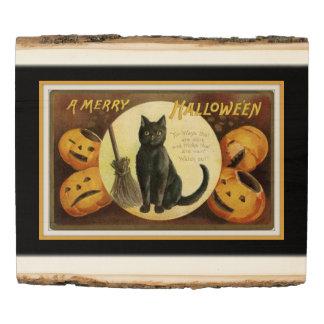 A Merry Halloween Black Cat and Pumpkins Black Wood Panel