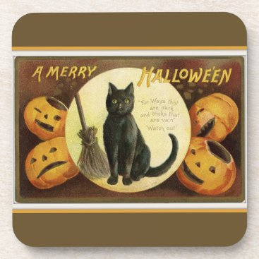 Halloween Themed A Merry Halloween Black Cat and Pumpkins Brown Coaster