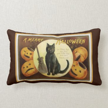 Halloween Themed A Merry Halloween Black Cat and Pumpkins Brown Lumbar Pillow