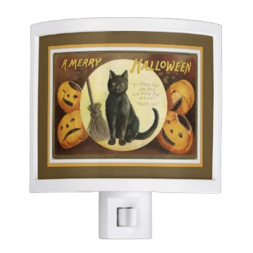 Halloween Themed A Merry Halloween Black Cat and Pumpkins Brown Night Light