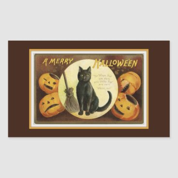 Halloween Themed A Merry Halloween Black Cat and Pumpkins Brown Rectangular Sticker