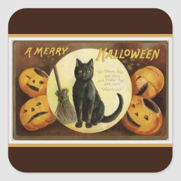 Halloween Themed A Merry Halloween Black Cat and Pumpkins Brown Square Sticker