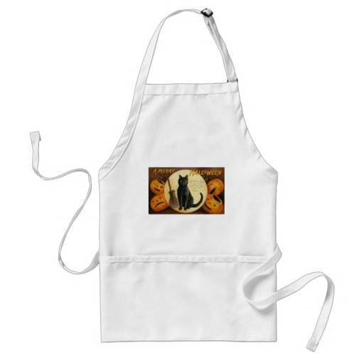 A Merry Halloween Cat Card Adult Apron