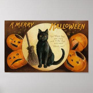 A Merry Halloween Cat Card Poster