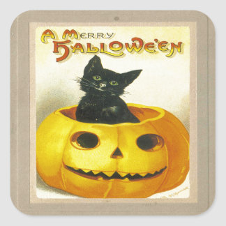 A Merry Hallowe'en Square Sticker