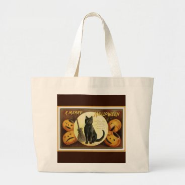 Halloween Themed A Merry Halloween Vintage Black Cat and Pumpkins Large Tote Bag