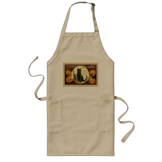 A Merry Halloween Vintage Black Cat and Pumpkins Long Apron