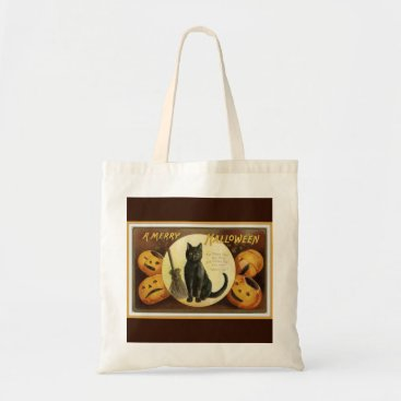 Halloween Themed A Merry Halloween Vintage Black Cat and Pumpkins Tote Bag