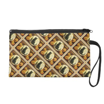 Halloween Themed A Merry Halloween Vintage Black Cat and Pumpkins Wristlet Purse