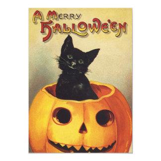 A Merry Halloween, Vintage Black Cat in Pumpkin 5x7 Paper Invitation Card