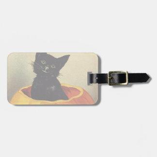 A Merry Halloween, Vintage Black Cat in Pumpkin Bag Tag