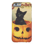 A Merry Halloween, Vintage Black Cat in Pumpkin Barely There iPhone 6 Case