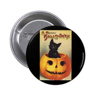 A Merry Halloween, Vintage Black Cat in Pumpkin Button