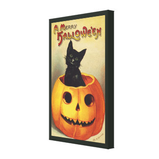 A Merry Halloween, Vintage Black Cat in Pumpkin Canvas Print