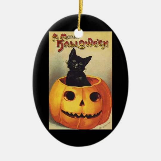 A Merry Halloween, Vintage Black Cat in Pumpkin Ceramic Ornament